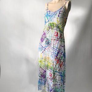 Colorful Biased Cut Summer Dress w/ Pockets